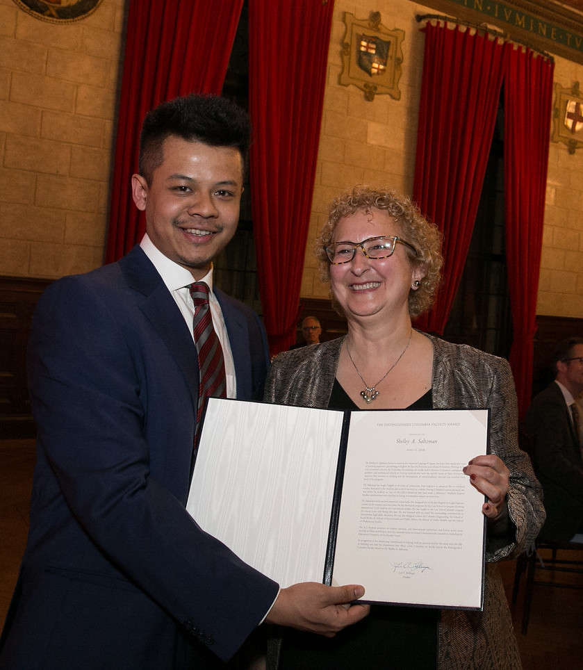 ALP Senior Lecturer Shelley Saltzman with her Lenfest Distinguished Columbia Faculty Award