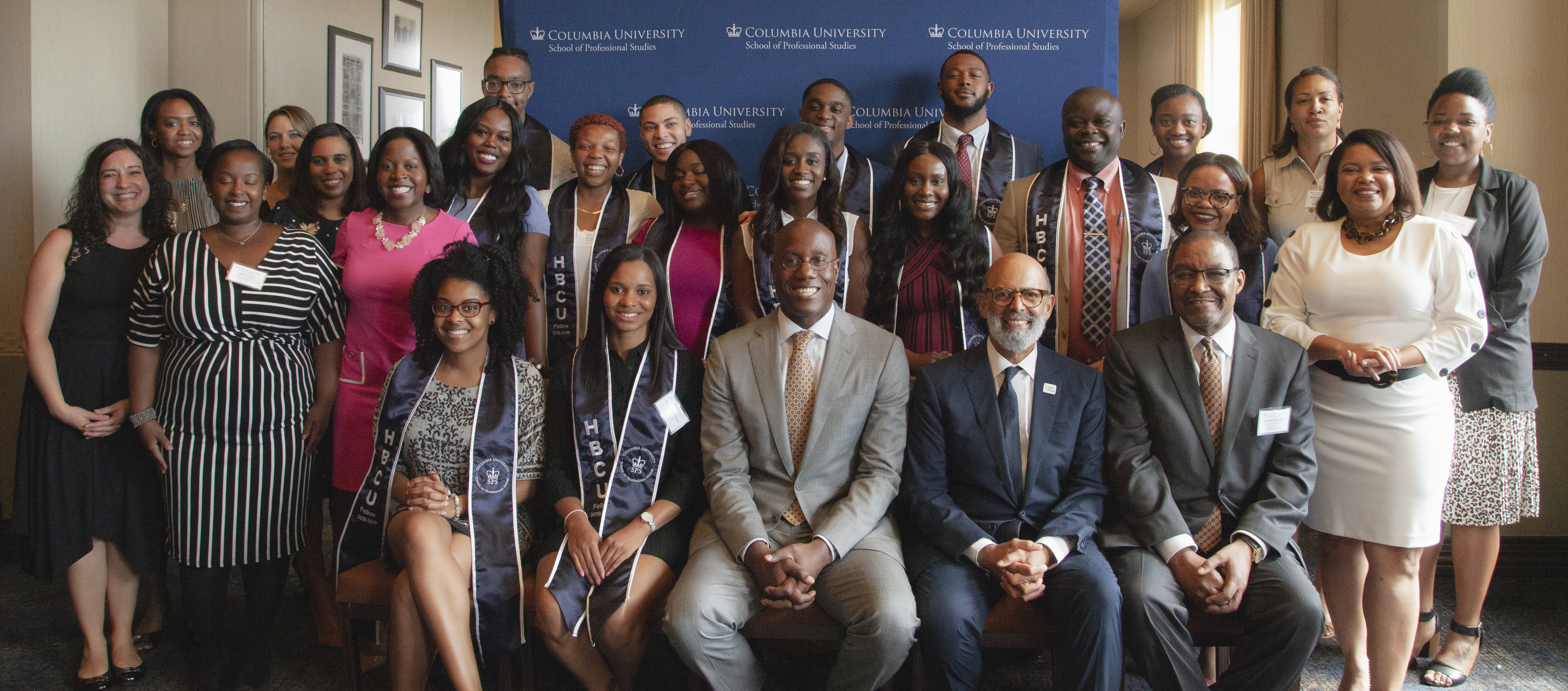 Dr. Jason Wingard, Dean, School of Professional Studies, Dr. Michael Lomax, President, United Negro College Fund, SPS officers, and 2019 HBCU Fellows celebrated the end of initiative's second year on May 20, 2019.