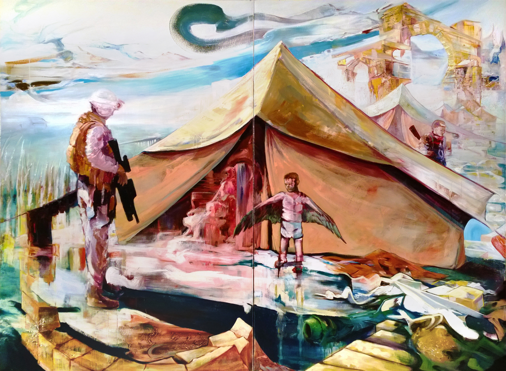 The Meeting of Dark Scout and Winged Boy, an oil on canvas by David Keefe (2012).
