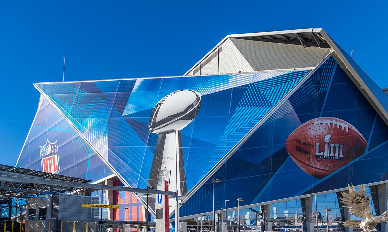 Mercedes-Benz Stadium in Atlanta, home of Super Bowl LIII.